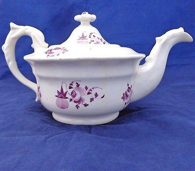 Hilditch Porcelain Round Old English Shape Teapot Dolphin Handled Antique c 1830
