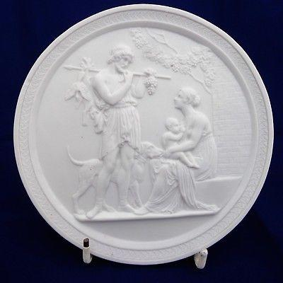 Antique Royal Copenhagen Bisque Porcelain Plaque Four Seasons Eneret c 1900-20
