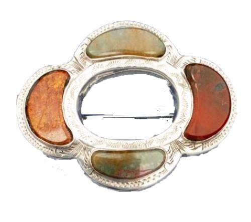 Antique Victorian Silver Scottish Agate Oval Quatrefoil Brooch Pin c 1880