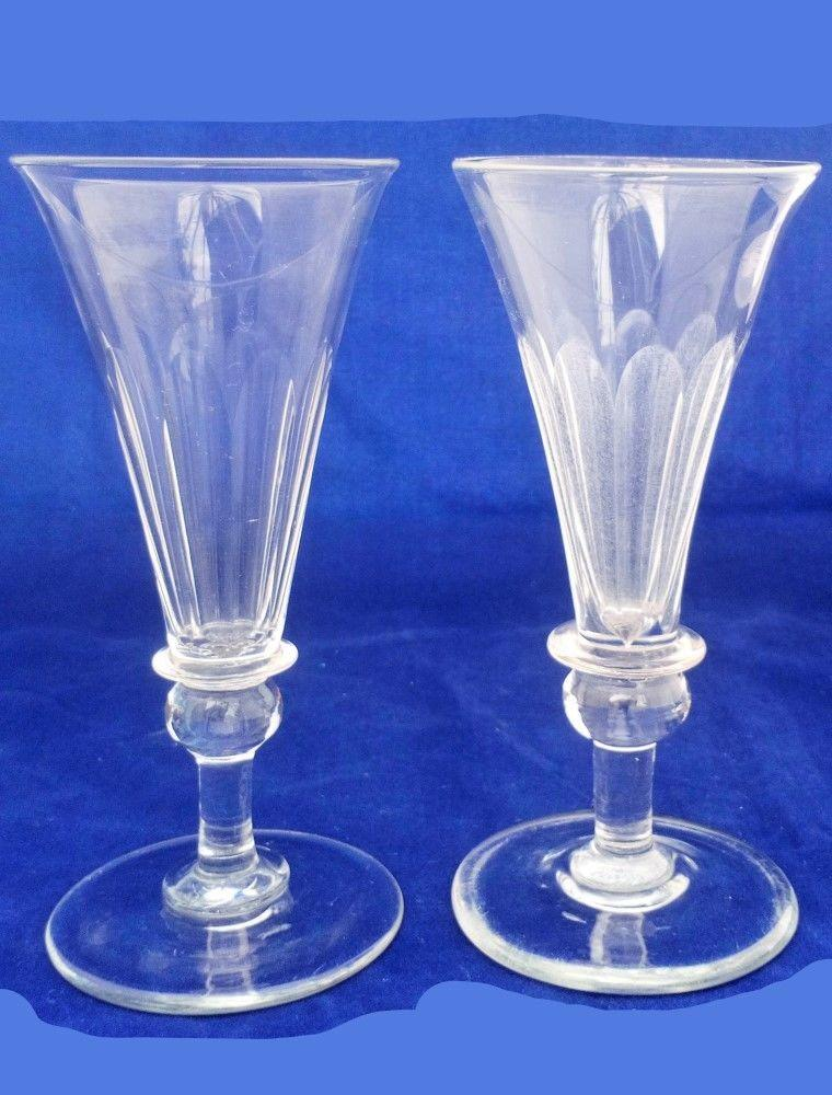 Pair Regency Dwarf Ale Glasses Trumpet Bowl Ball and Blade Knop Antique c 1820