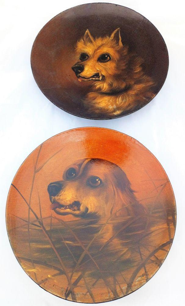 Papier Mache Plate Hand Painted Dog English Water Spaniel Antique Victorian