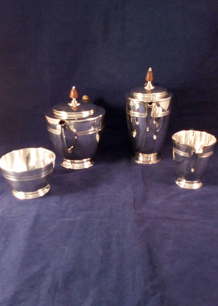 Silver Plated 4 piece Tea Service Art Deco by Robert and Belk circa 1920