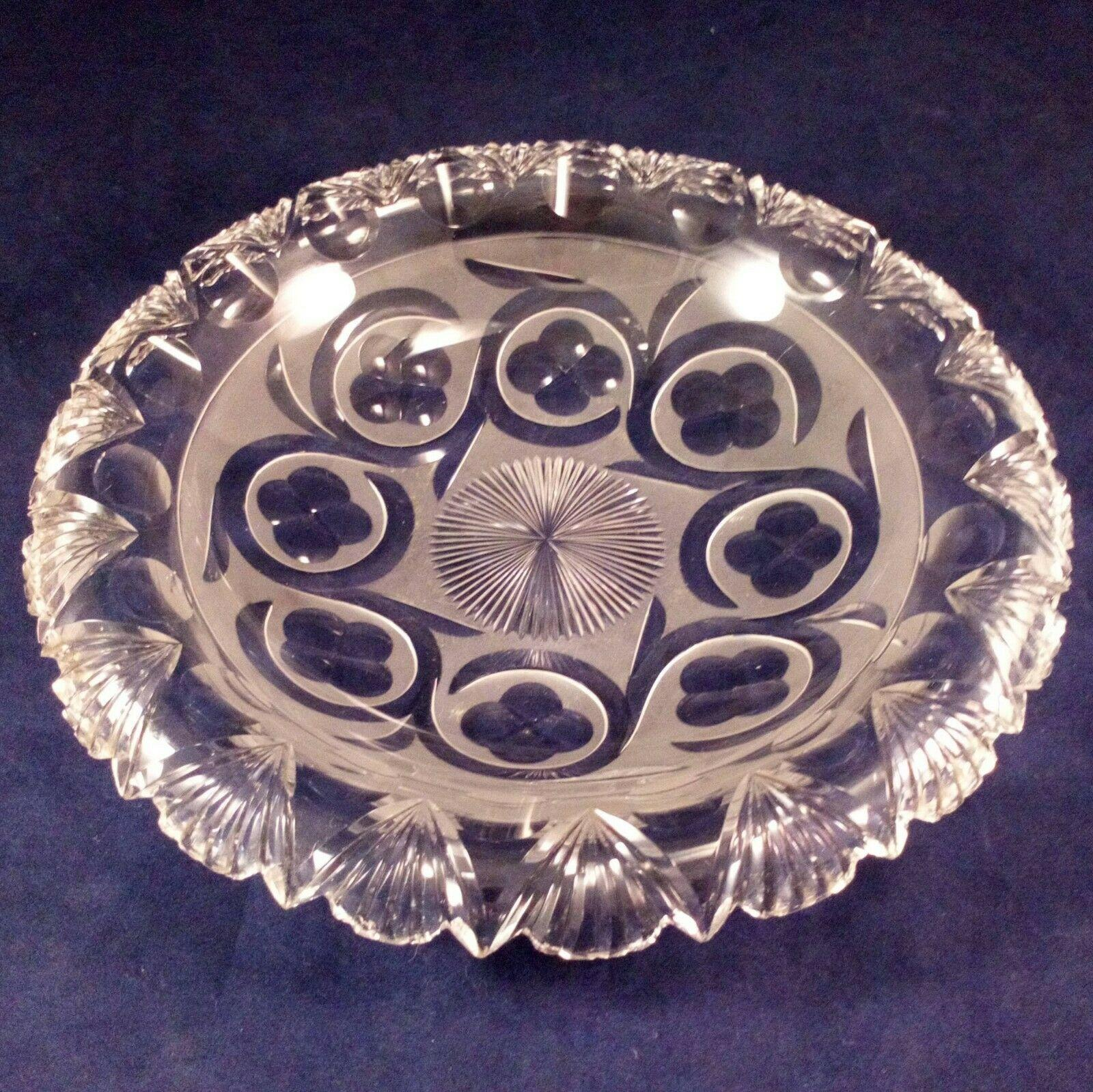 Cut Lead Glass Everted Rim Dish Fan Cut Rim Frosted Etched Detail Victorian c 1860