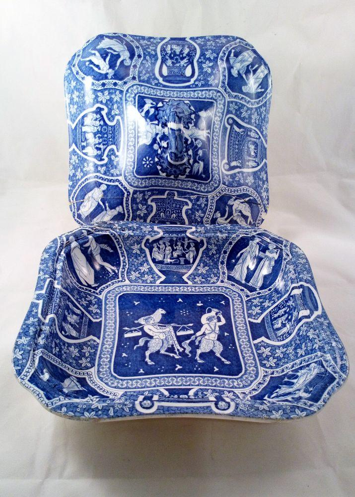 Spode Blue and White Pearlware Transferware Tureen Greek Pattern Satyrs ca 1810