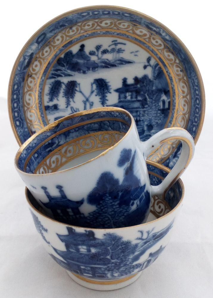Chinese Porcelain Trio Gilded Blue and White Emerging Boat Qianlong Qing c 1780