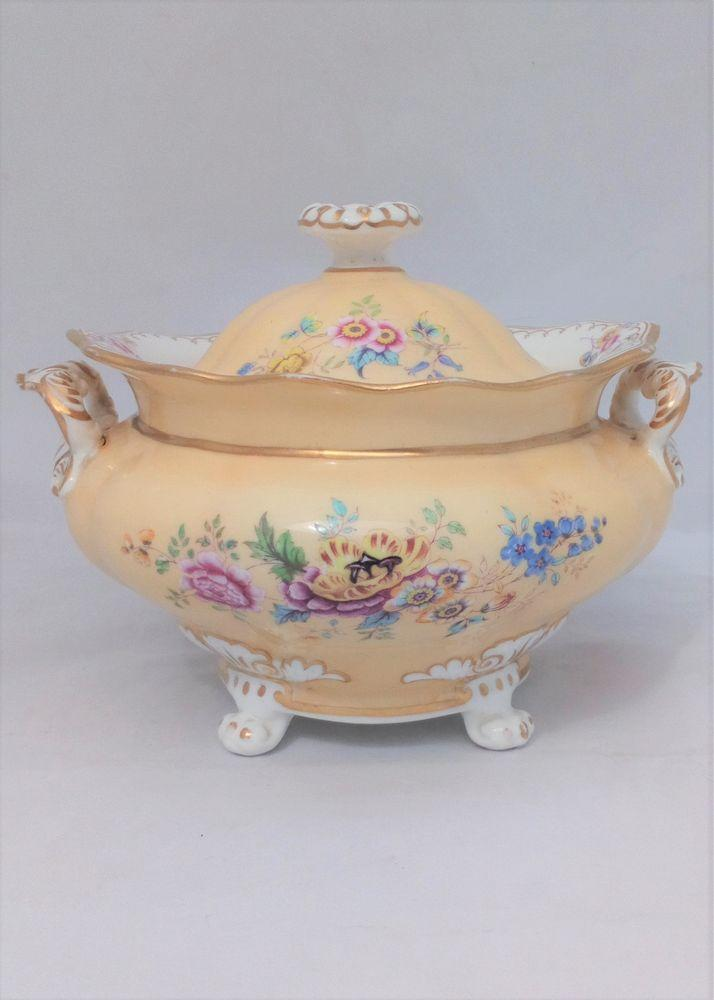 Minton Porcelain Collared French Shape Sucrier or Sugar Box ca 1827
