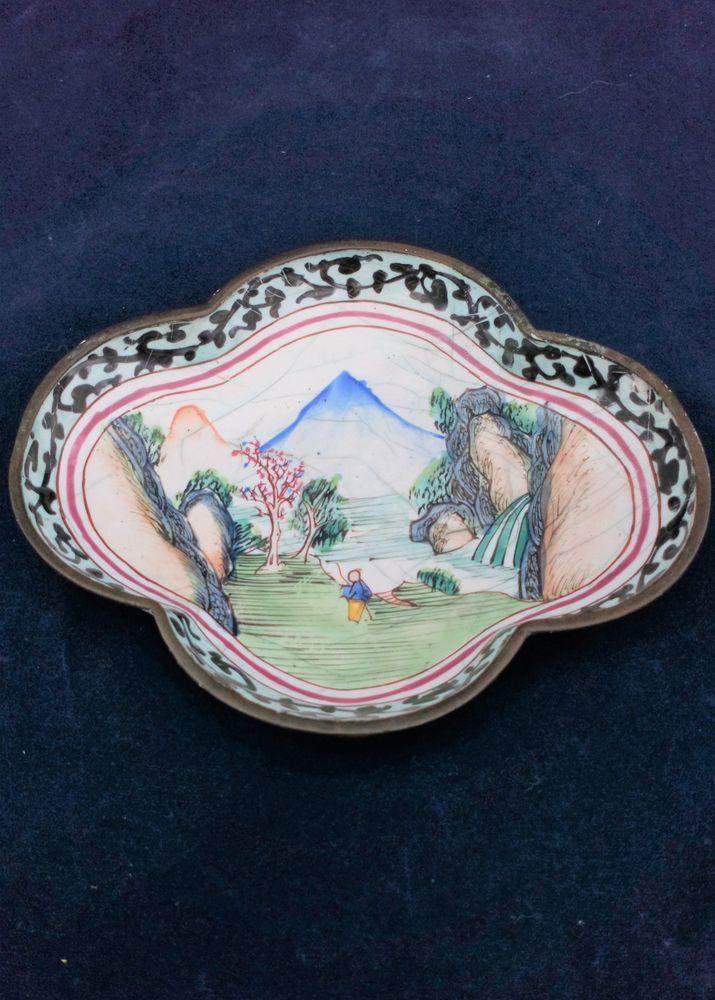 Chinese Canton Enamel Painted Quatrefoil Spoon Tray Qing Antique c 1780