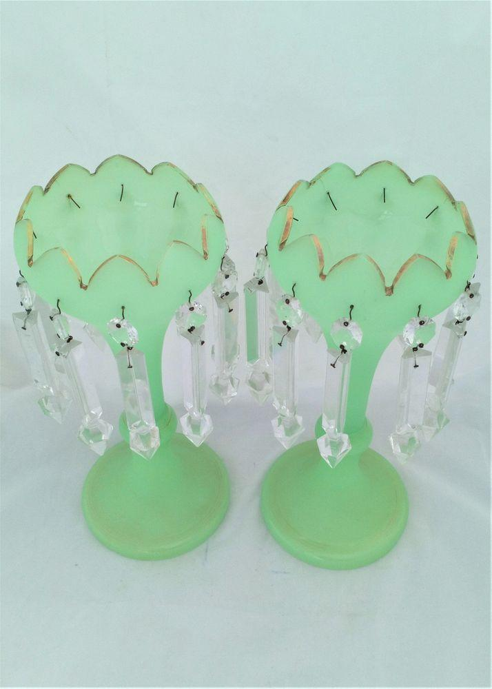 Pair Green Opaque Uranium Glass Tulip Shaped Mantle Lustre Vases Victorian