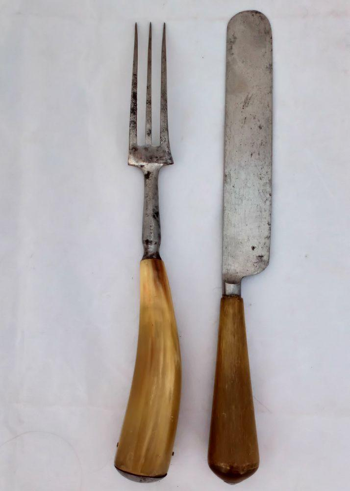 Horn Handled Knife and Fork John Wigfall & Co Antique Cutlery c 1860