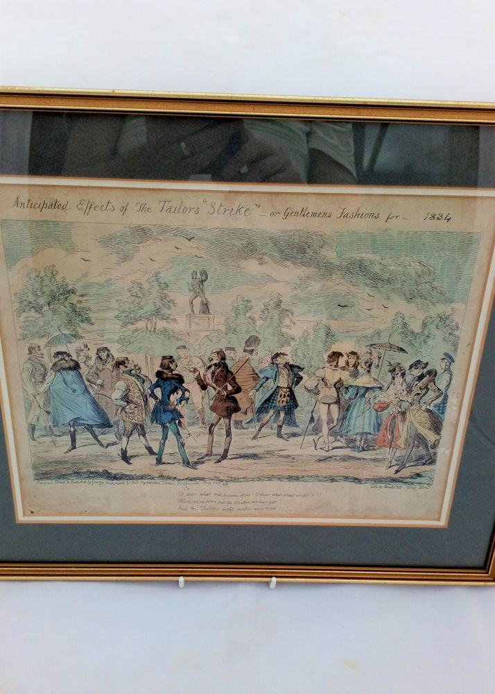 Framed George Cruikshank Etching Original 1834 Coloured Print The Tailors Strike