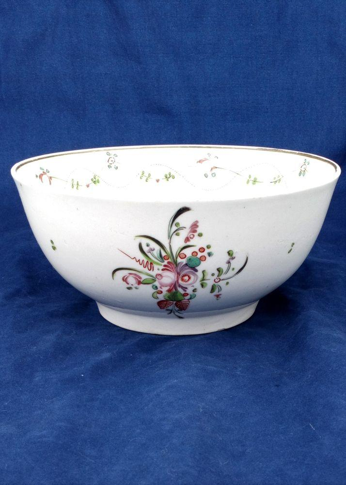 New Hall Porcelain Tea Waste Bowl 6 inch Hand Painted Pattern 241  c 1795