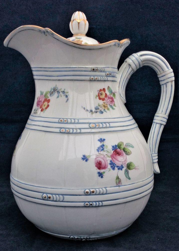Porcelain Wine Ewer and Lid Jug Pitcher Faux Cane Body Antique Victorian C 1850