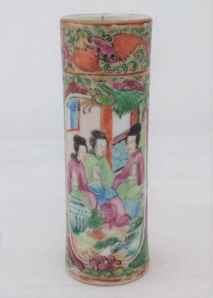 Chinese Porcelain Rose Medallion Bats 福 Miniature Cylindrical Vase 19th C
