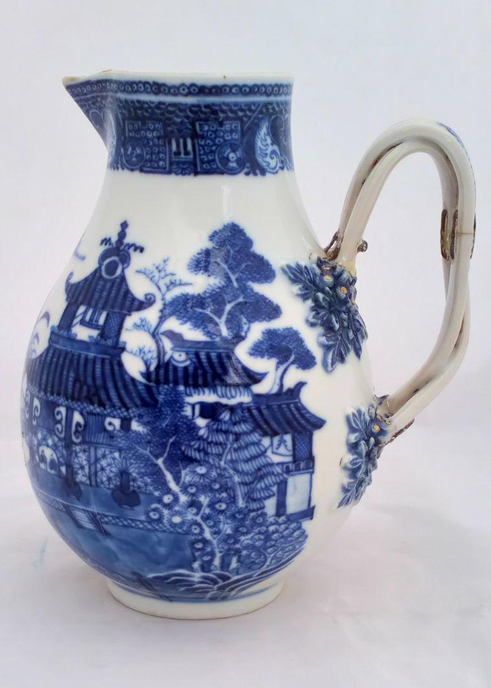 Chinese Porcelain Sparrow Beak Jug HP Blue Qianlong 乾隆 Qing 清代 c 1780