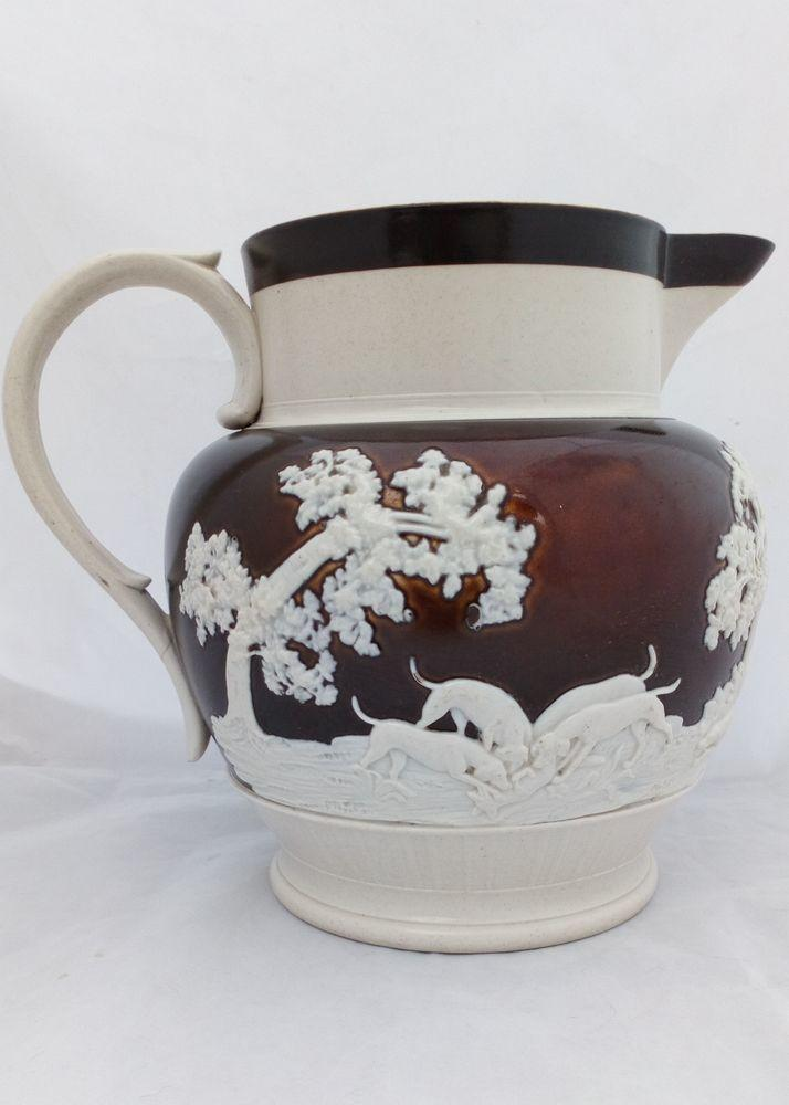 Large Stoneware Ale Jug Sprigged Hunting Scene Chetham and Woolley c 1810