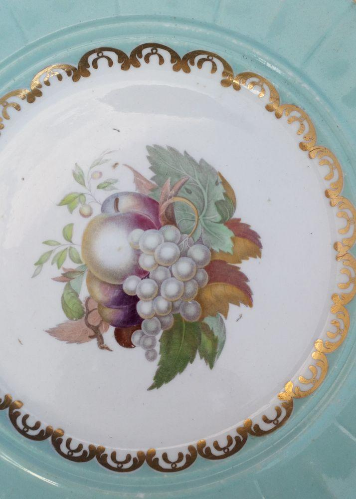 F and R Pratt Type Colour Transfer Print of Fruit Dessert Plate circa 1860