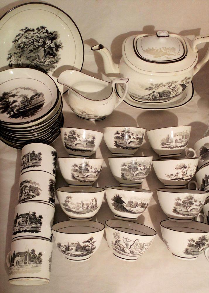 New Hall Porcelain Tea and Coffee Service Bat Printed Landscapes Pattern 1063 44 pieces circa 1815