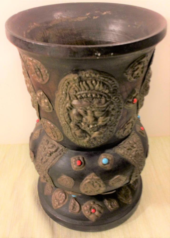 Antique Tibetan Nepalese Tall Wooden Vase or Storage Jar with Applied Brass Buddhistic Mounts c 1900