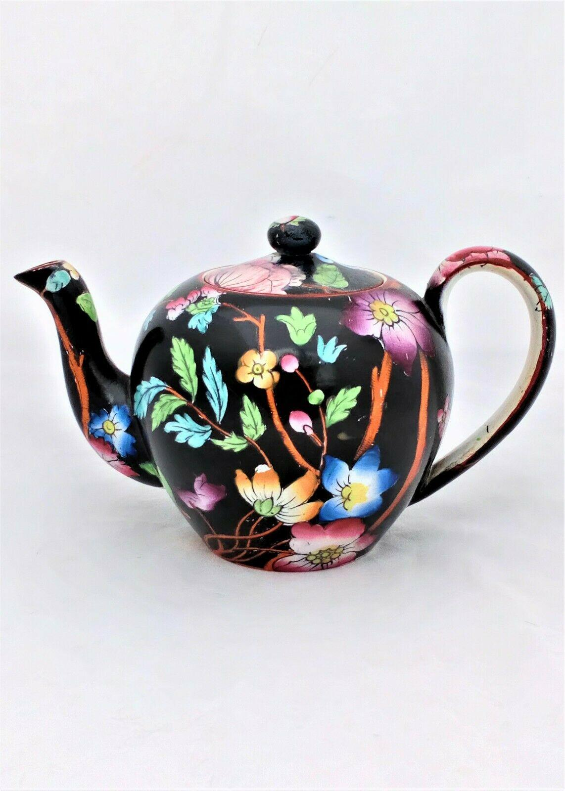 Antique Bachelor Teapot Transferware Black Ground Floral Sprays Livonia c 1850