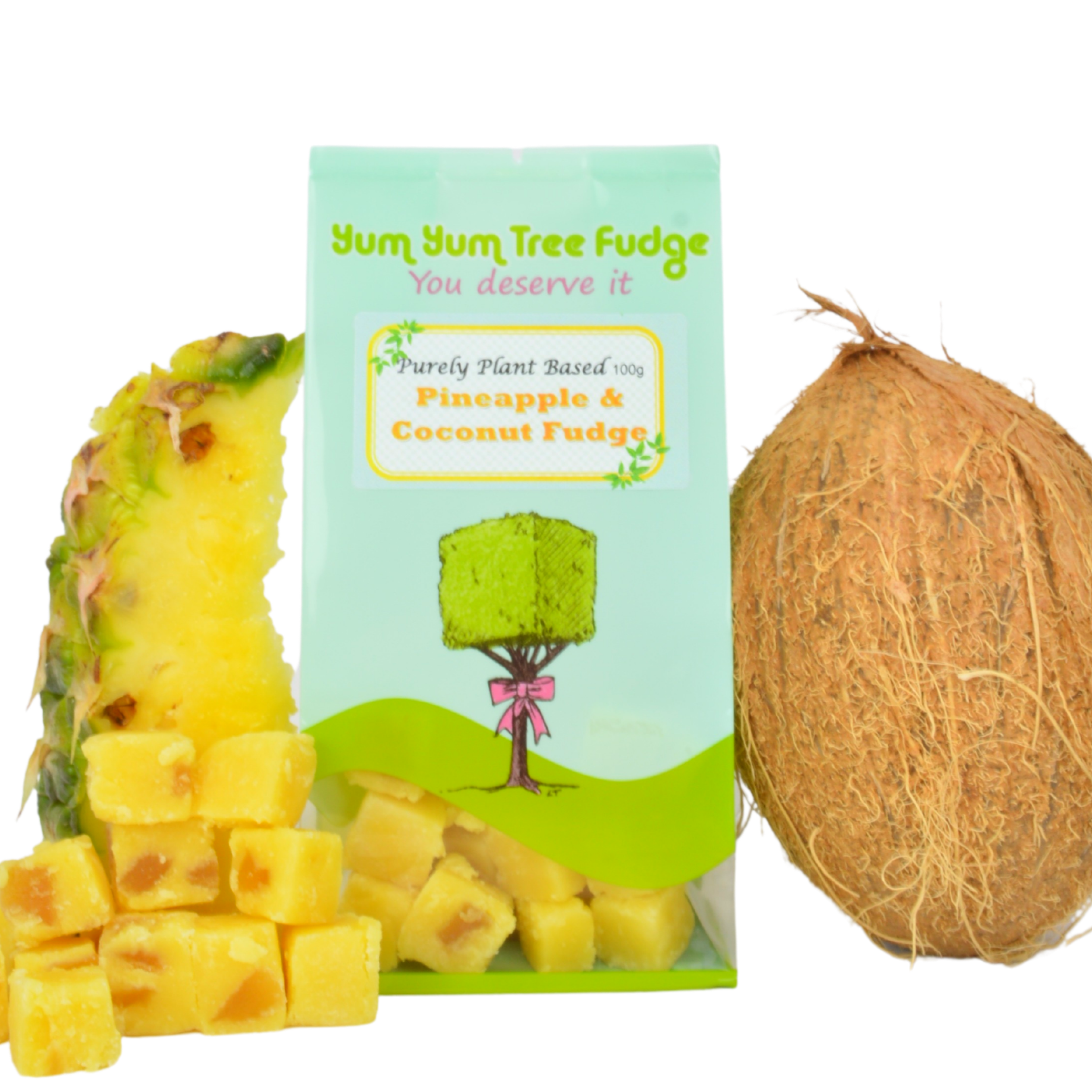 Plant Based Pineapple & Coconut Fudge by Yum Yum Tree Fudge