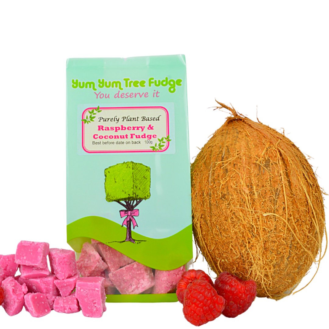 Plant Based Raspberry & Coconut Fudge by Yum Yum Tree Fudge