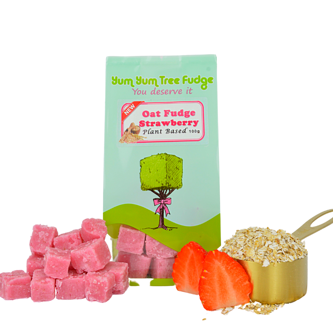 Plant Based Strawberry Oat Fudge by Yum Yum Tree Fudge