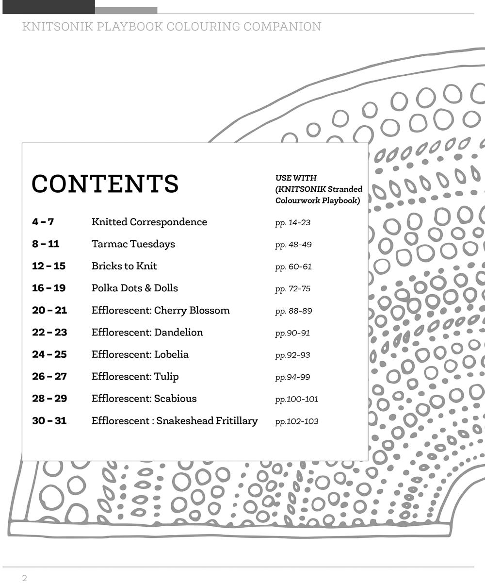 KNITSONIK Playbook Colouring Companion contents page