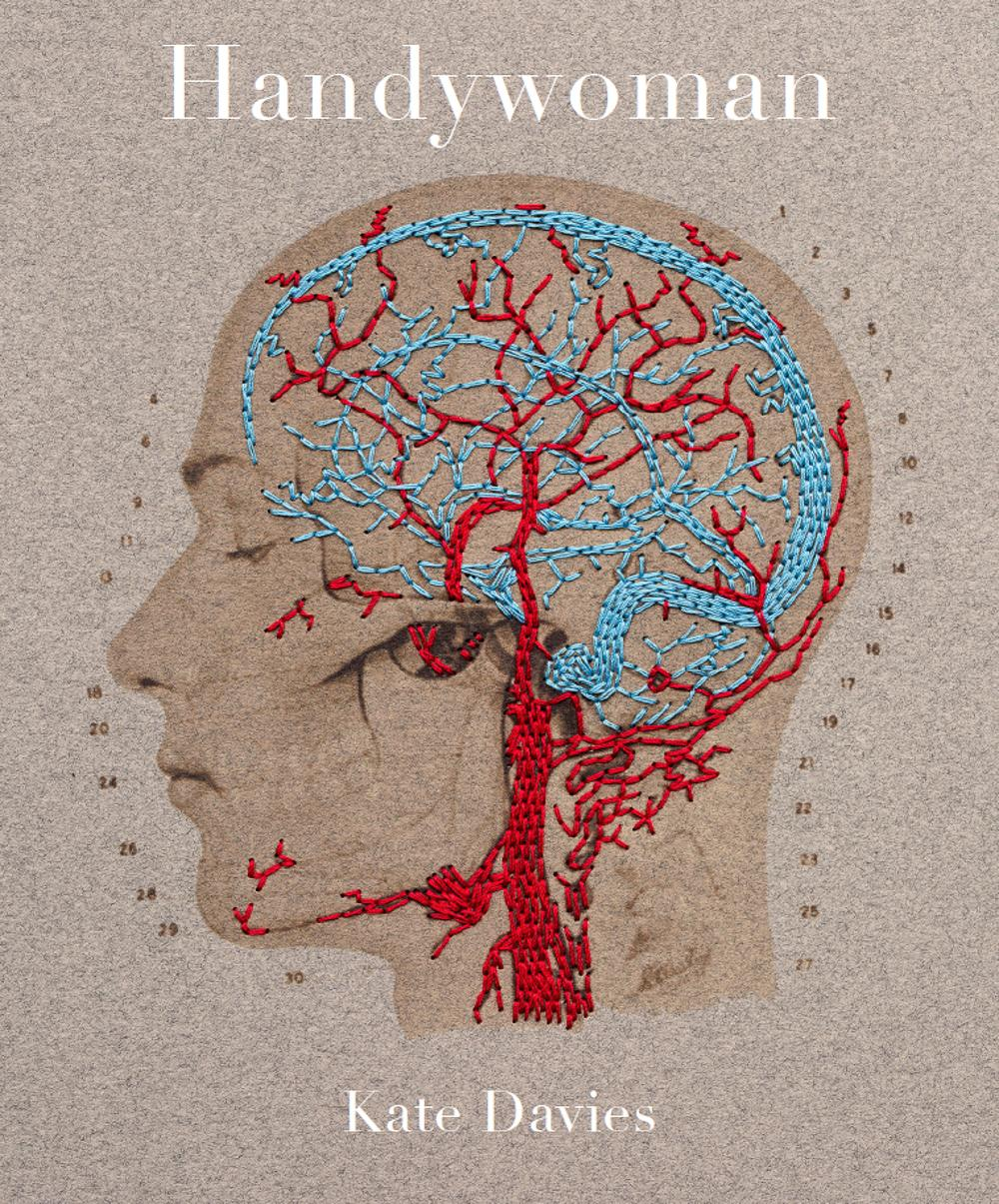 Handywoman cover showing embroidered brain and nervous system