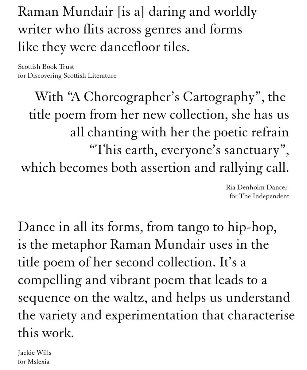 A Choreographer's Cartography by Raman Mundair - endorsement quotes