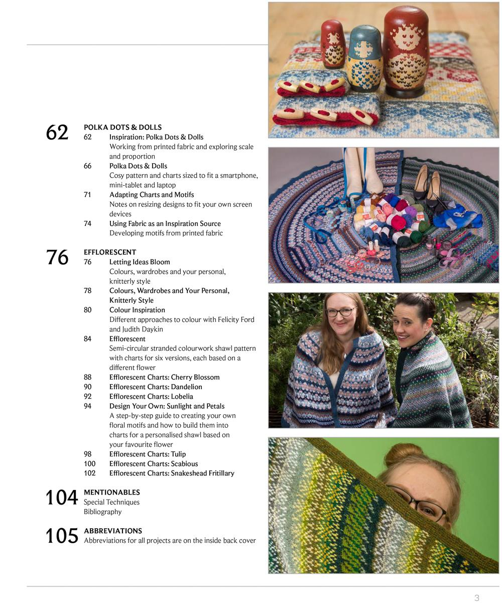 KNITSONIK Stranded Colourwork Playbook contents page