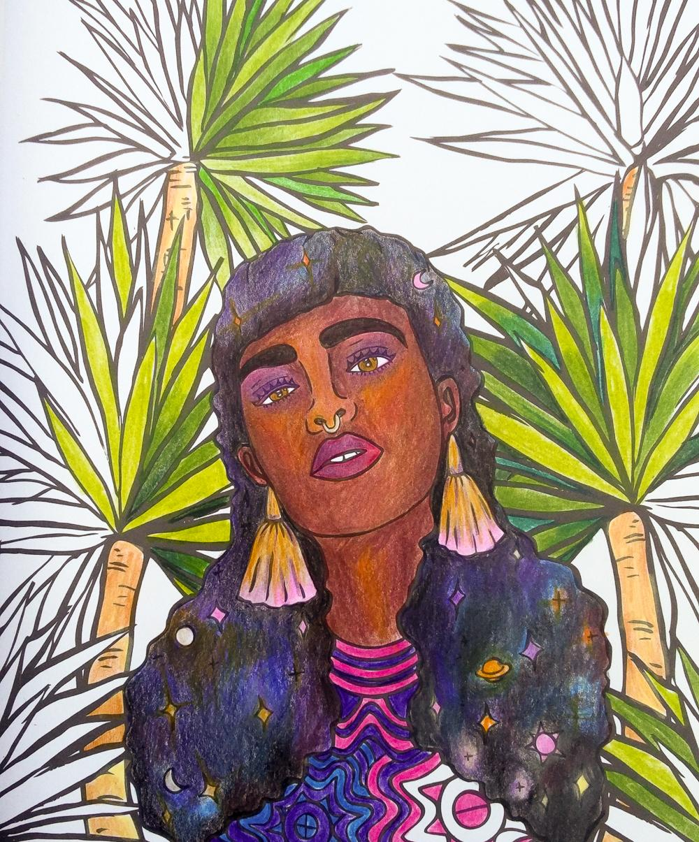 A partially coloured-in page from W+P+P featuring a Black woman gazing out from within some super luscious green tropical foliage