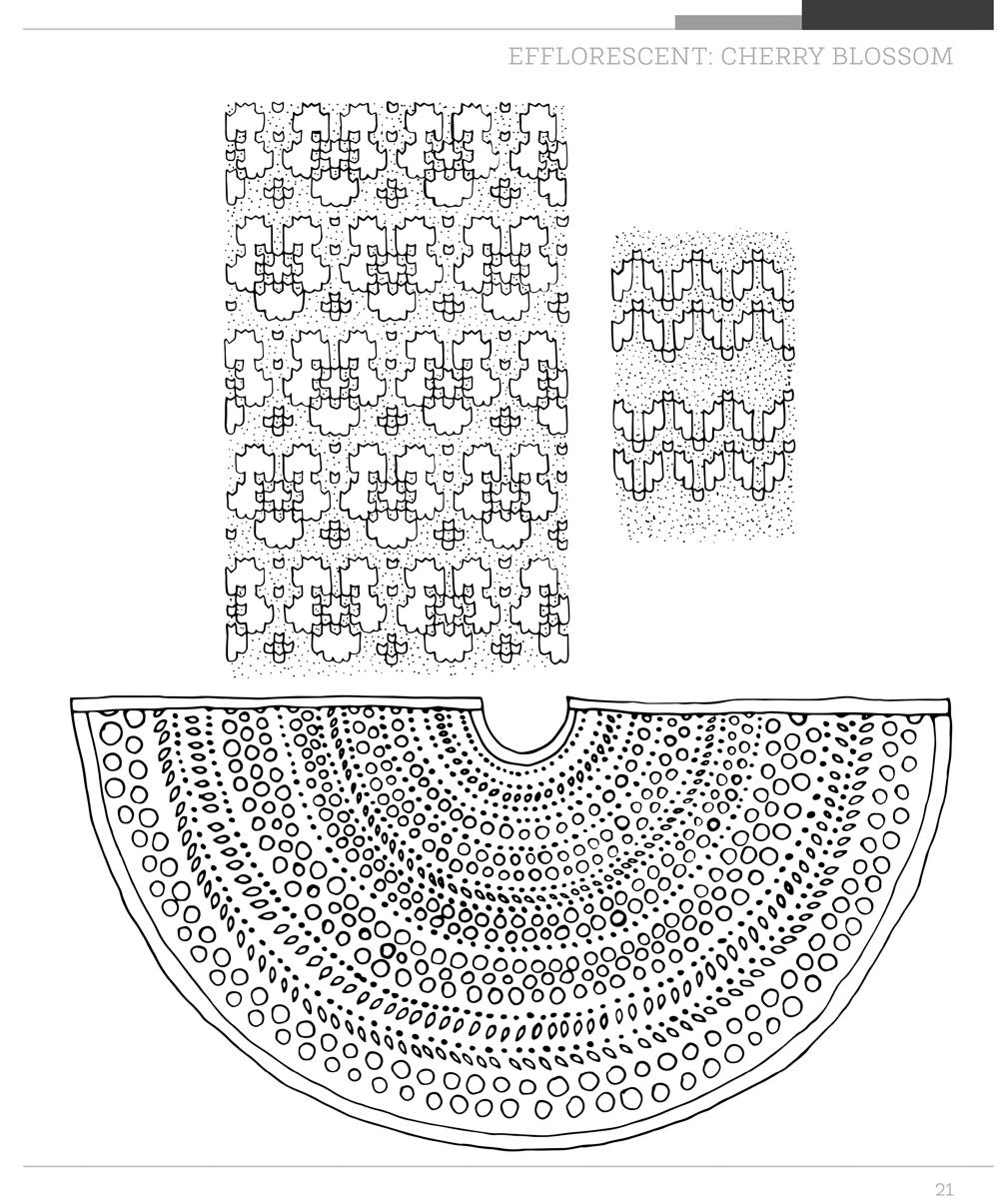 Shawl spread showing colouring-in illustration of Efflorescent shawl pictured from a distance