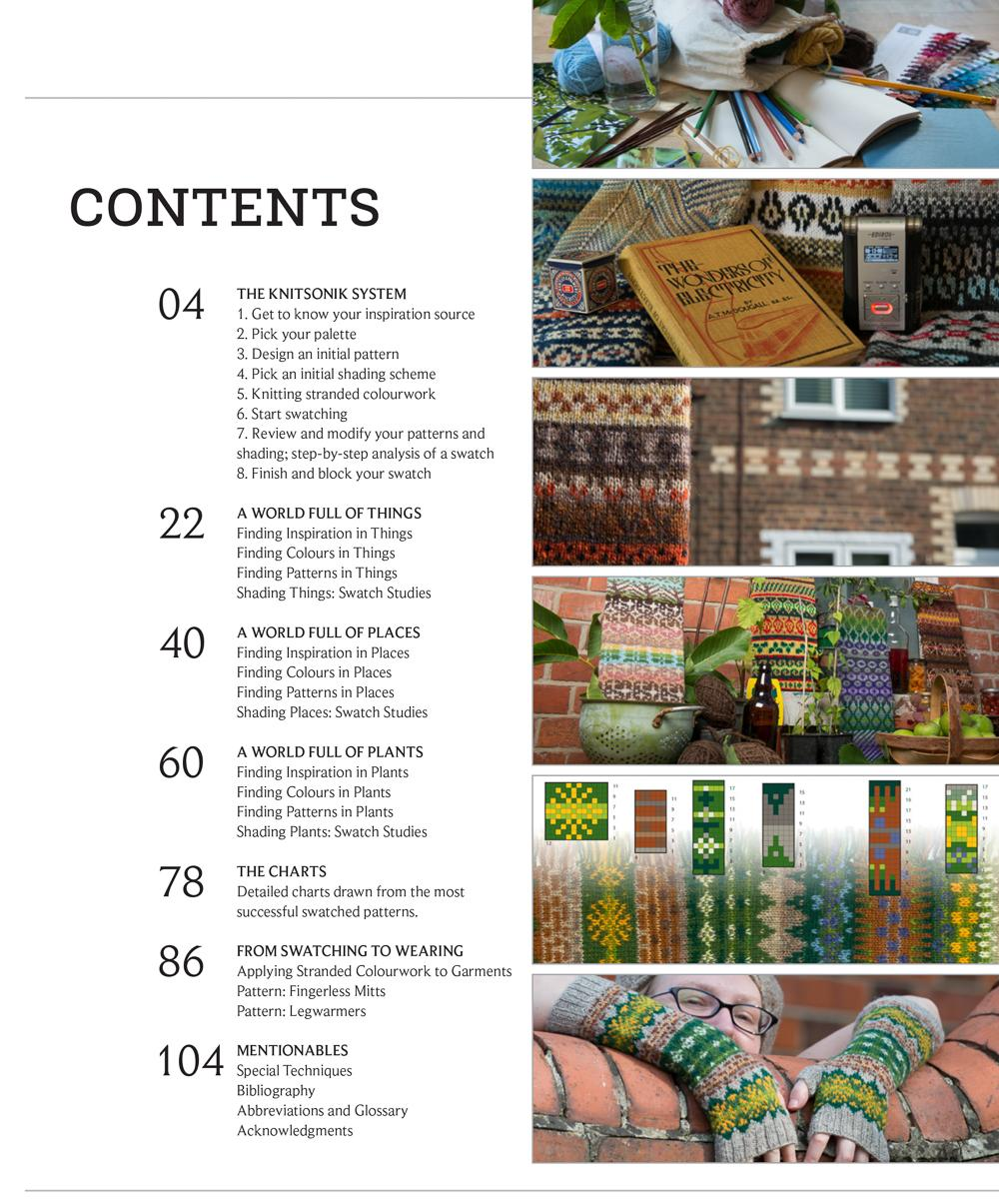 KNITSONIK Stranded Colourwork Sourcebook Contents Page