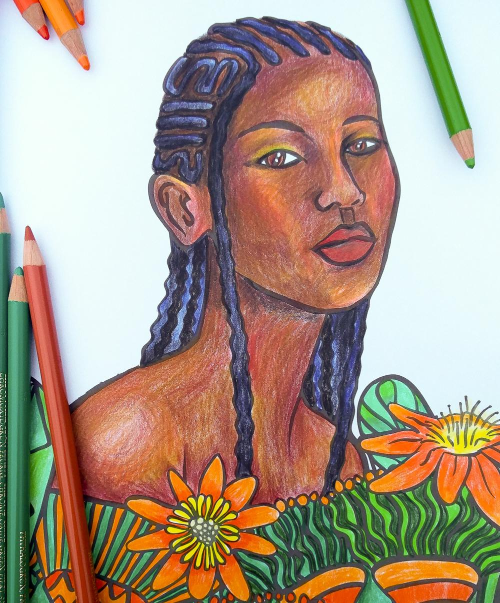 A coloured-in page from W+P+P featuring a Black woman with Cornrows peeking out from orange flowers; coloured pencils rest invitingly on the page