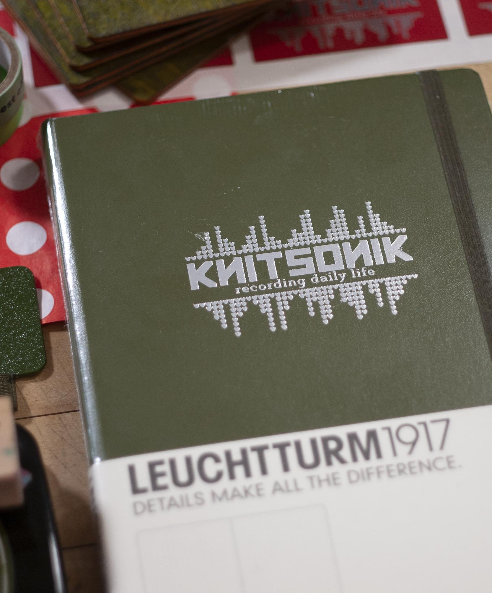 Army Green Leuchtturm1917 notebook with its silver KNITSONIK logos