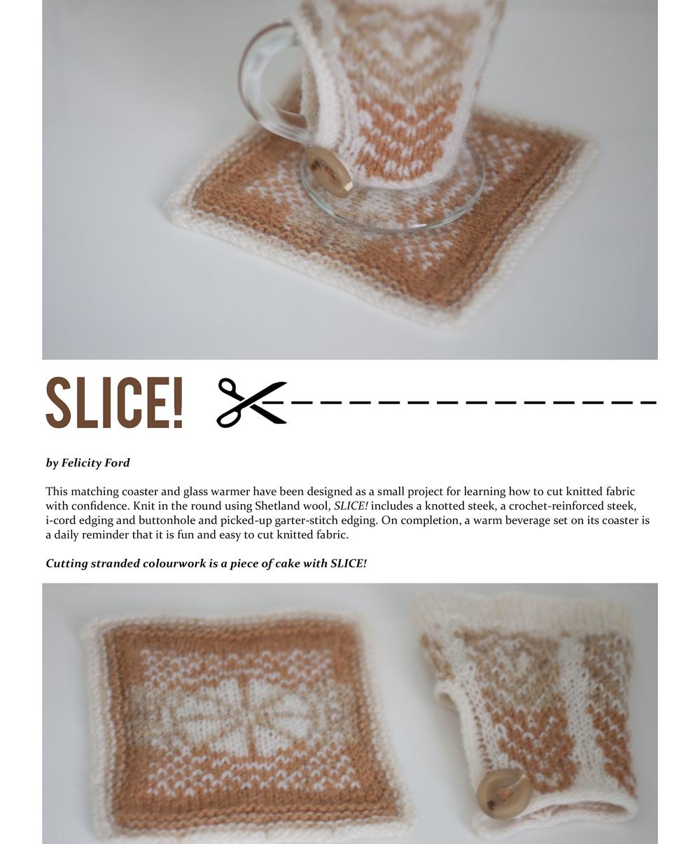 Pattern cover for Slice! showing the design.