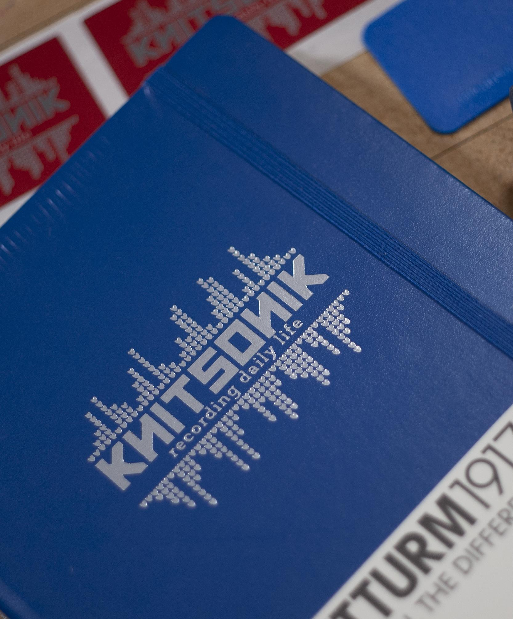 Royal Blue Leuchtturm1917 with silver KNITSONIK logo