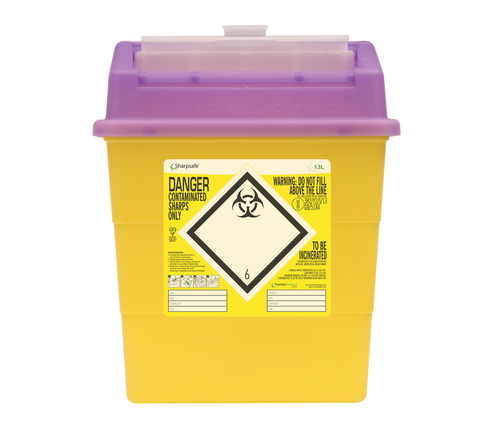 Contain-ER 13L sharps disposal bins purple with protected access - box of 20 41151420
