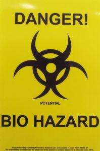 Contain-ER bio hazard warning label adhesive