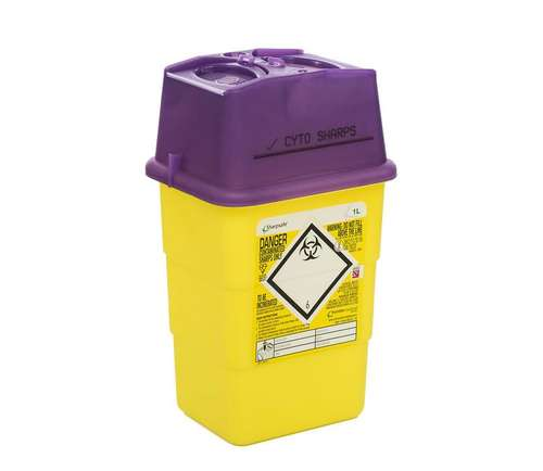 Contain-ER 1L sharps disposal bins with purple lids - box of 100 41602420