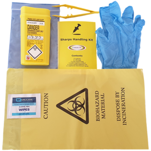 Contain-ER Sharps handling kit without disinfectant