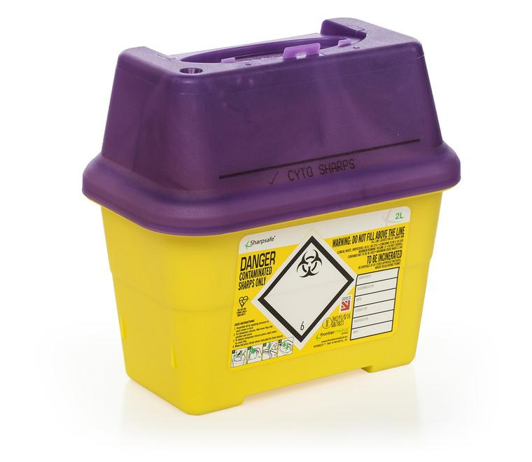 Cytotoxic sharps disposal bins (purple lids)
