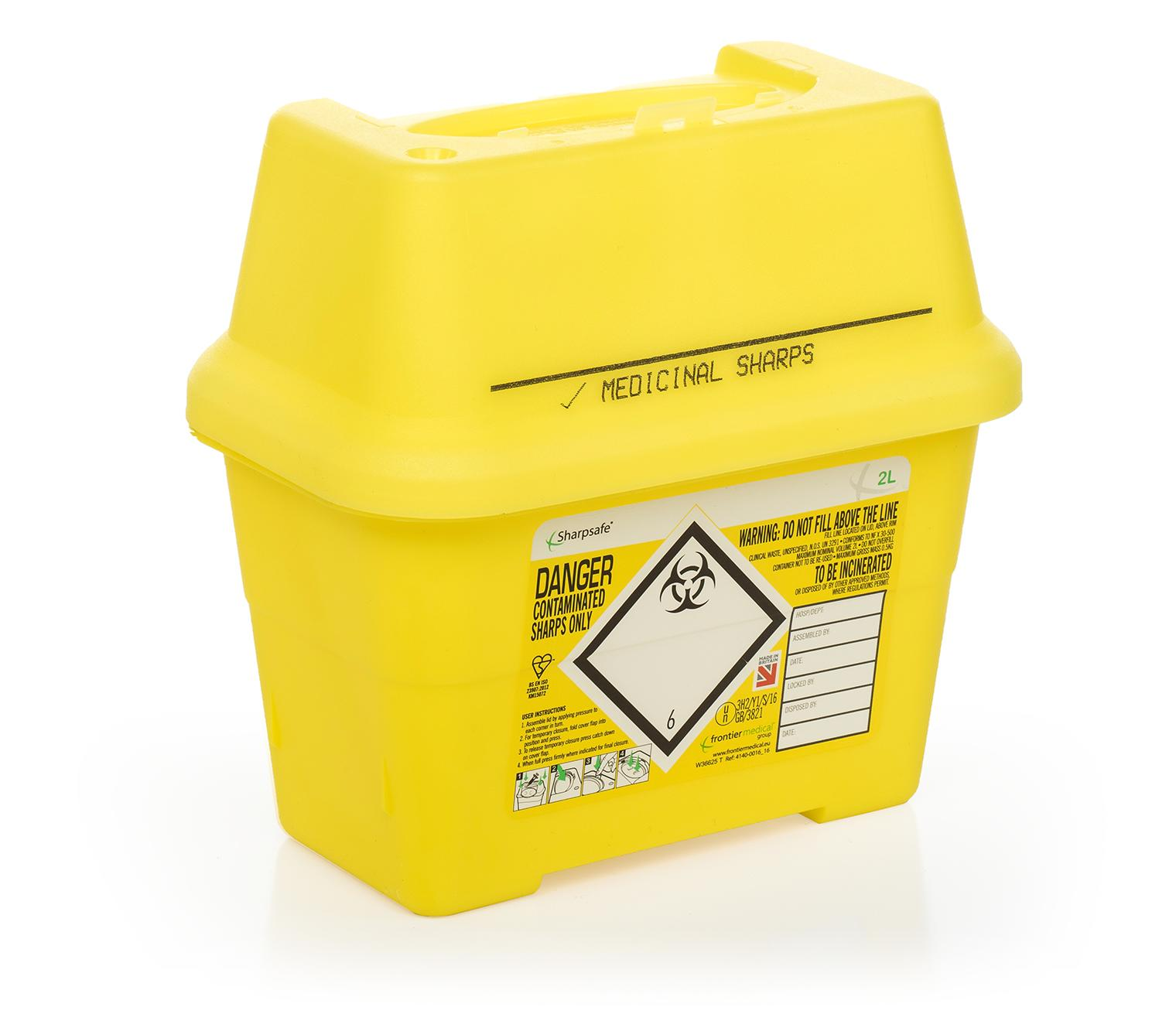 Medicinally contaminated sharps disposal bins (yellow lids)