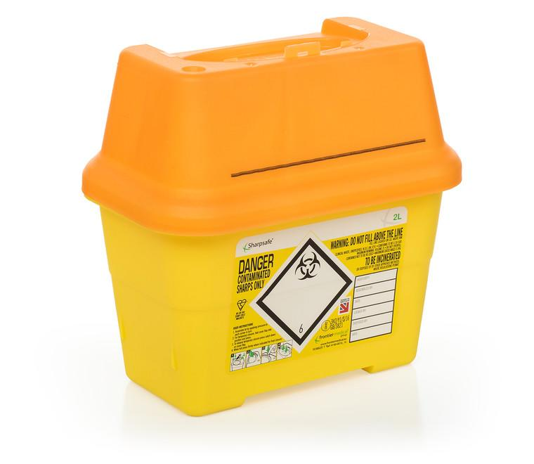 Non-medicinally contaminated sharps disposal bins (orange lids)