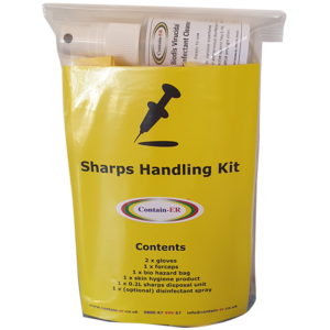 Contain-ER Sharps handling kit with disinfectant