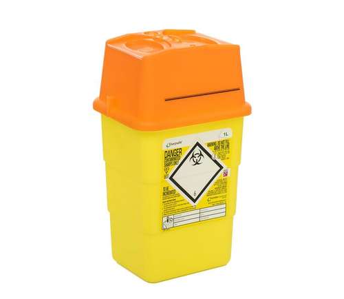 Contain-ER 1L sharps disposal bins with orange lids - box of 100 41602410