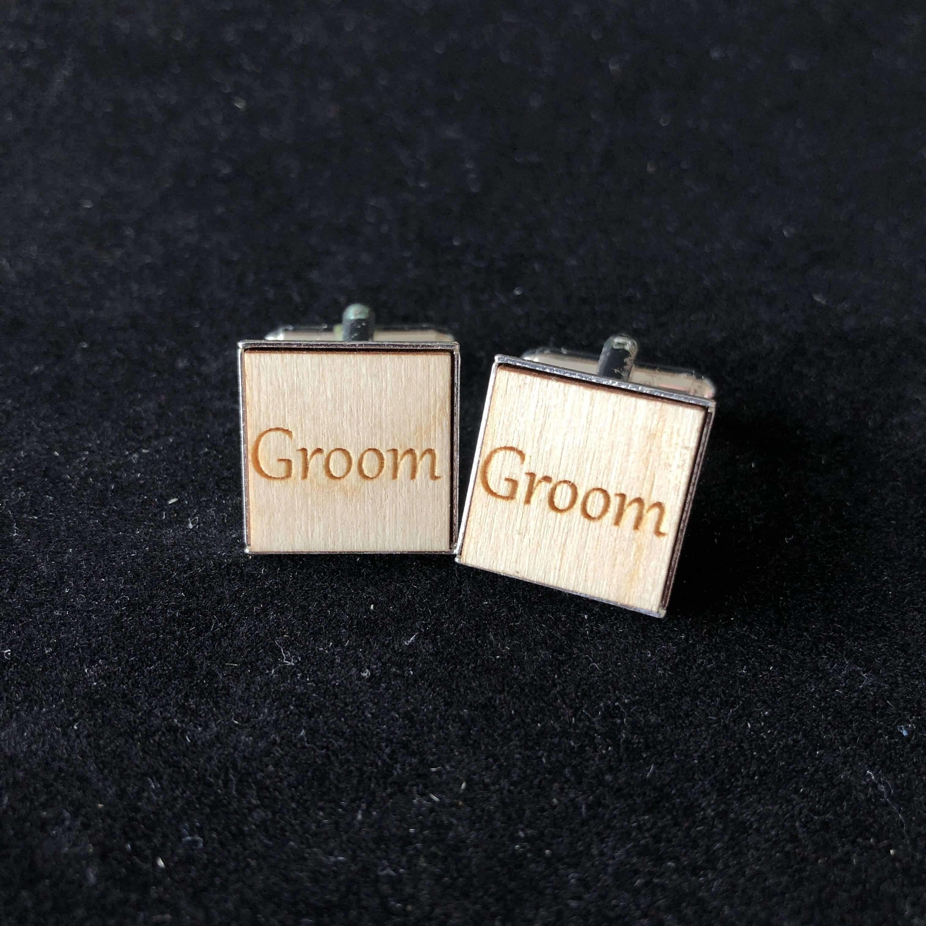 Red Berry Crafts Ltd:Wedding Party Wood and Silver plated Cuff links
