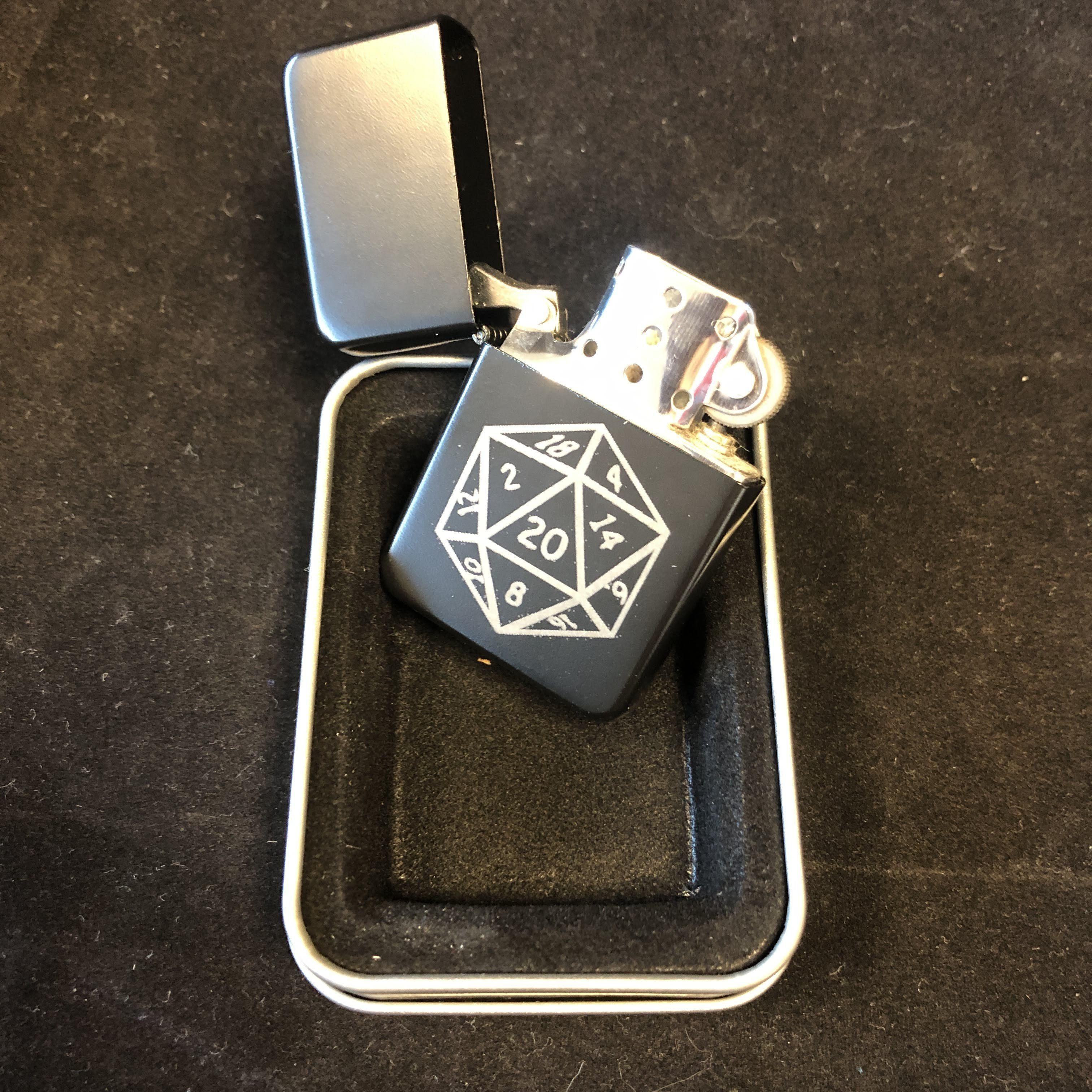 D20 Dungeons and Dragons theme Laser engraved lighter: Red Berry Crafts