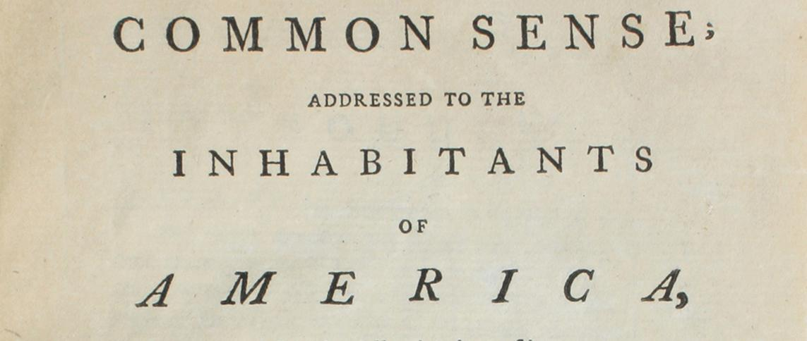 Thomas Paine, Common Sense, first London edition, with manuscript additions (1776)