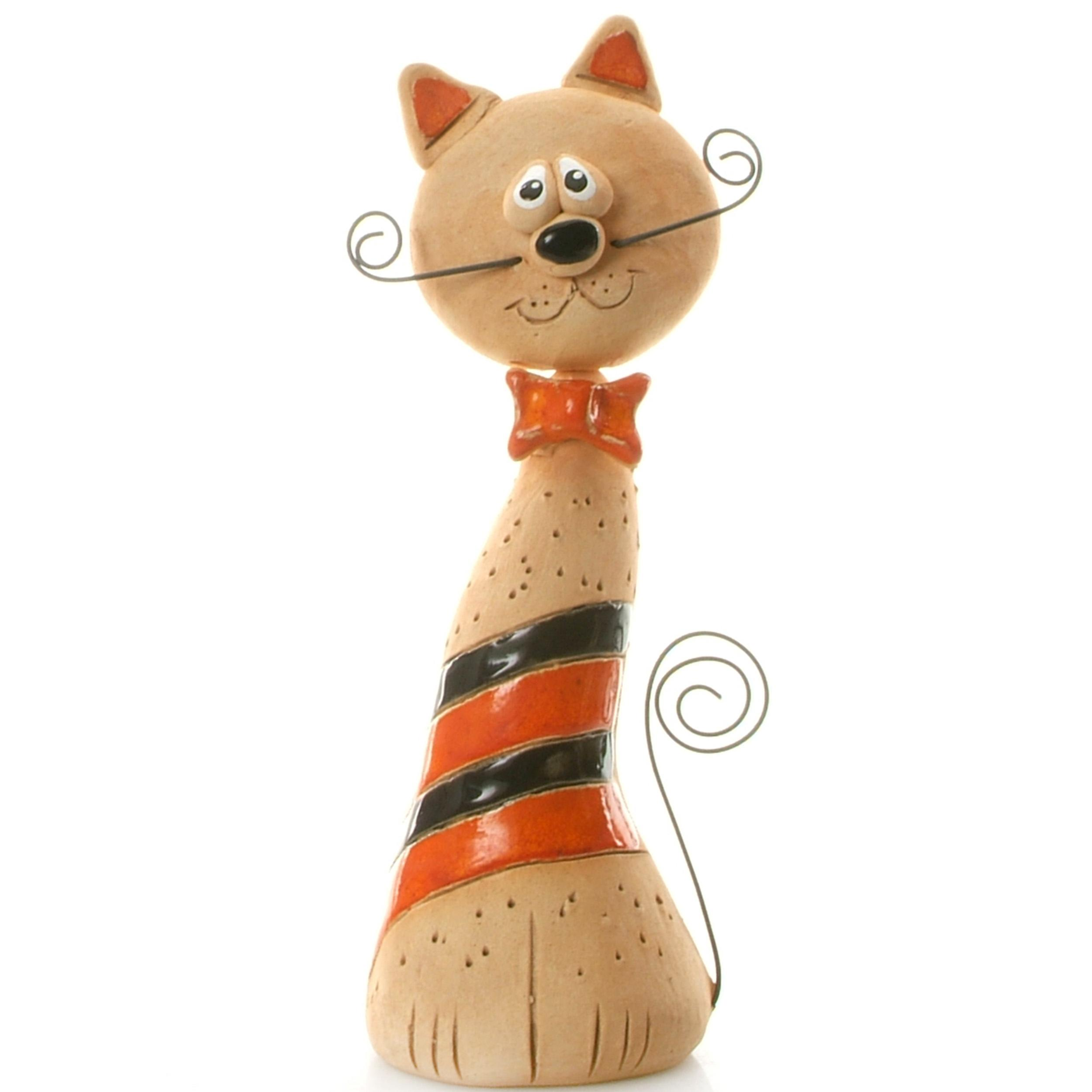Ceramic Crazy Cat with Wire Whiskers and Tail